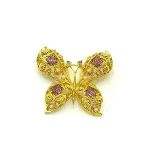 Vintage Large Gold Tone Avon Butterfly Brooch